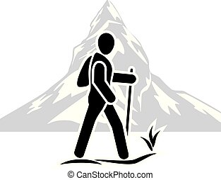 Traveler among the mountains. Icon. Vector illustration