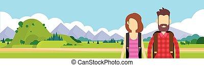 Traveler Couple Outdoor Hiking Man Woman Over Mountain...