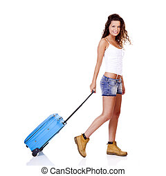 Traveler girl - Beautiful young woman walking with a blue...