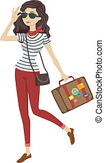 Traveler Girl - Illustration of a Woman in Stripes Carrying...