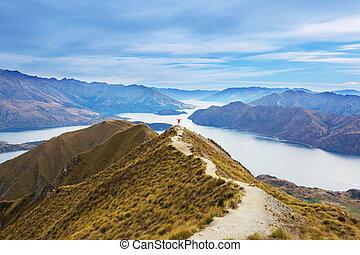 Traveler hiking in Roys Peak. New Zealand. Lake Wanaka