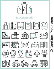 Traveler Icons set vector