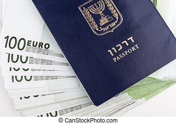 Traveler Identity - Israeli passport closeup with euro ...
