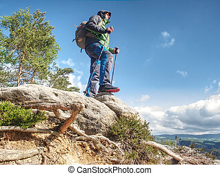 Traveler in the mountains stands on a rock,