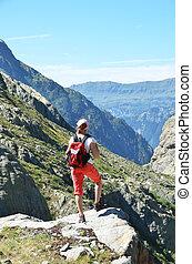 Traveler in the Swiss Alps