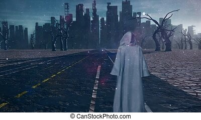Traveler in white cloak before the destroyed city