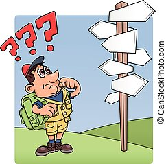 Traveler is confused by road sign - Illustration of the...