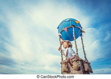 Little boy in a balloon