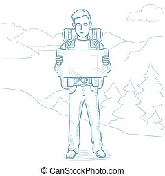 Traveler looking at map vector illustration.
