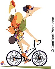 Smiling traveler in helmet with rucksack and outfit rides a bike and looks healthy and happy isolated on white illustration