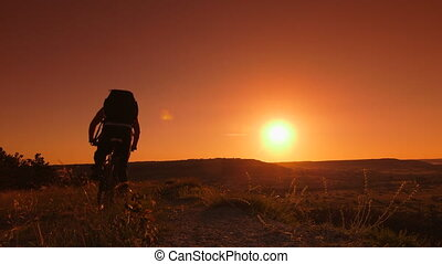 Traveler on mountain bike