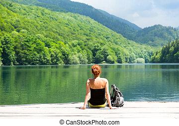 Traveler on the lake