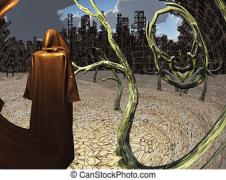Traveler - Robed figure before destroyed city.