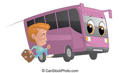 Traveler runing alongside a bus