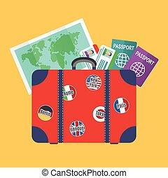 Traveler suitcase, earth map, passports
