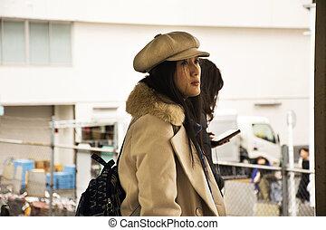 Traveler thai women and Japanese people passengers wait and ...
