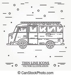 Traveler Truck Camper Thin Line Camping RV Trailer Family