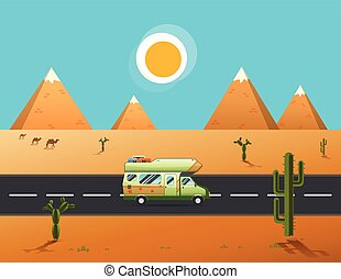 traveler truck driving on the road to desert and mountainslandscape
