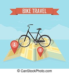 traveler with bicycle on map background
