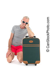 Traveler with delay - Traveler with suitcase having delay ...