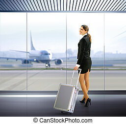 traveler with luggage - Business traveler with luggage in...