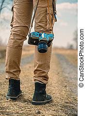 Traveler with photo camera