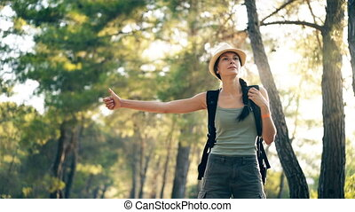 Traveler woman hitchhiking on a sunny forest road. Tourist...