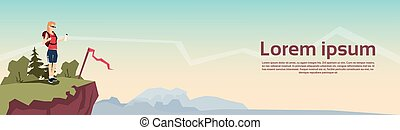 Traveler Woman Stand On Hill Hiker Rucksack Mountain ...