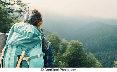 Traveler woman with backpack