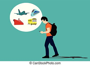 Travelers are using the phone for travel purposes blue background