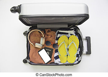 traveler's, bagage, glasögon, travel., plånbok, ringa, klar, pass, beklädnad, smart, enheter