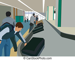 Travelers collecting their luggage from luggage carousel