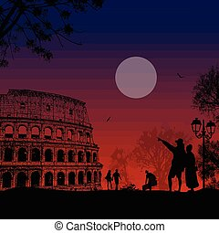 Travelers couple silhouette  in front of Colosseum in Rome