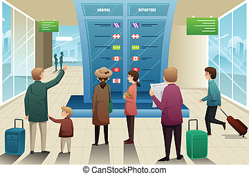 A vector illustration of many travelers looking at departure board
