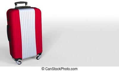 Traveler's suitcase featuring flag of Austria. Austrian...