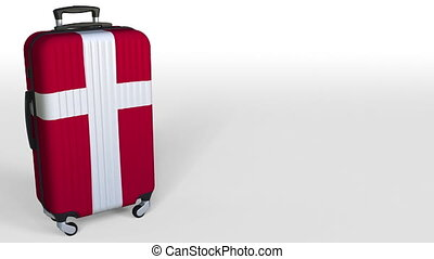 Traveler's suitcase featuring flag of Denmark. Danish...