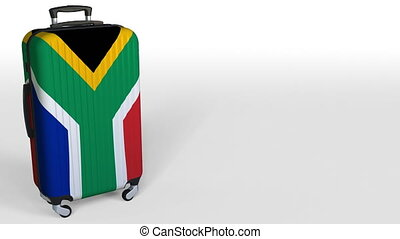 Traveler's suitcase featuring flag of South Africa. SAR...