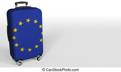 Traveler's suitcase featuring flag of the European Union. EU...