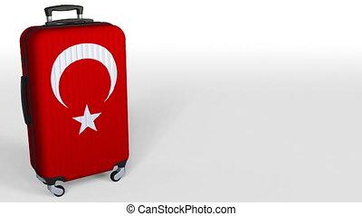 Traveler's suitcase featuring flag of Turkey. Turkish...