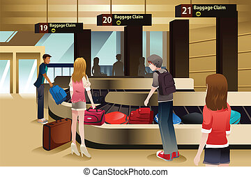 Travelers waiting for their baggage - A vector illustration ...