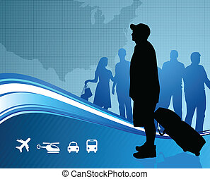 Travelers with United States map Original Vector...