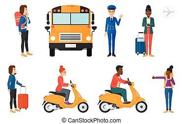 traveling., קבע, תחבורה, וקטור, אנשים