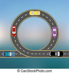 Traveling along the coast by car. Abstract Highway, the road in a landscape. Transport illustration