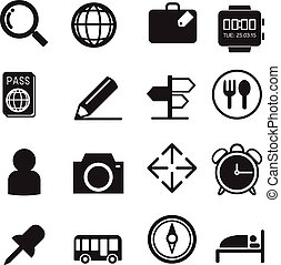 Traveling and transport silhouette icons for Web and Mobile App.