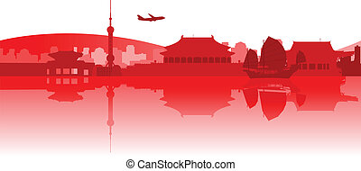 Traveling Around East Asia - Illustration of famous...