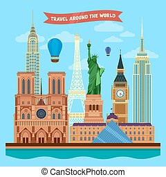 Traveling Around the World Banner with Famous Architectural...