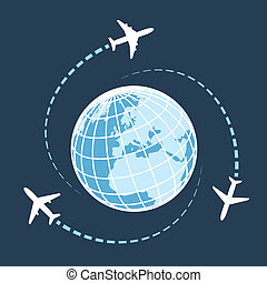 Traveling around the world by air transport concept wit three airplanes circumnavigating a globe on a dark blue background with flight paths vector illustration