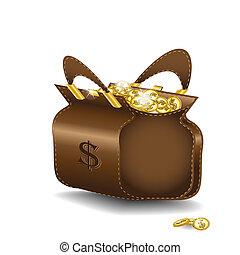 Traveling bag - Illustration, traveling bag with golden...