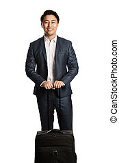 Traveling business person smiling