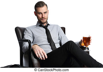 Traveling businessman with beer